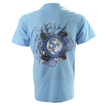 Sea Shells Southern Charm Collection on a Sky Blue Short Sleeve T Shirt