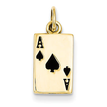14k Enameled Ace of Spades Card Charm K1874