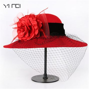 YIFEI 1920s Vintage flower Derby Church Bucket hats Elegant Fashion classic chapeau veil Formal hat Women 100% Wool Felt Hats