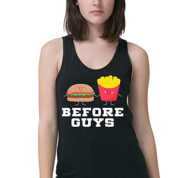 Fries Before Guys Tank - Kawaii - Funny T Shirt - Workout Tank - Workout Clothes - Women's Tank Top - Running Tank - Fitness Tank