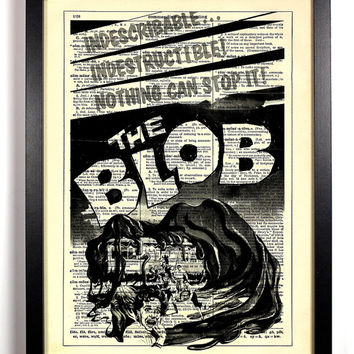 The Blob Retro Horror Movie Poster 8 x 10 Upcycled Dictionary Art Vintage Book Print Recycled Vintage Dictionary Page Buy 2 Get 1 FREE