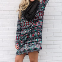 Windy City Black Tribal Print Tunic Dress