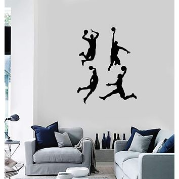 Vinyl Wall Decal Basketball Players Silhouette Sports Fan Boys Room Stickers Mural (ig5472)