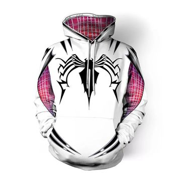 3D Print Spider Gwen Stacy Spider Costume for Halloween and Cosplay Female Spider hoodies Anti-Venom Gwen 3D Men Women Hoodies