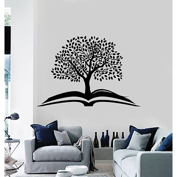 Vinyl Wall Decal Tree Open Book Leaves Reading Room Corner Stickers Mural (g741)