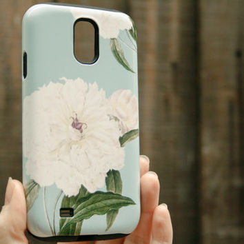 Floral Galaxy S4 Case, Flowers Galaxy S3 Cover, Peony Pattern iPhone Case
