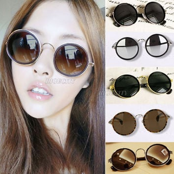 Vintage Style 90s Round Lens Sunglasses Steampunk Glasses Goggles Grunge 6 Colors