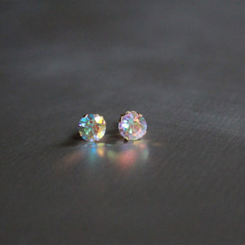 Gemstone Stud Earrings, solid gold earrings , Opalescent topaz earrings, 14kt gold earring, bridal earrings, gemstone jewelry