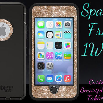 "iPhone 6 Case OTTERBOX - 4.7"" iPhone 6 Otterbox Defender Custom Glitter Case  - Black/Gold Glitter Sparkly Cute New iPhone 6 Protector"