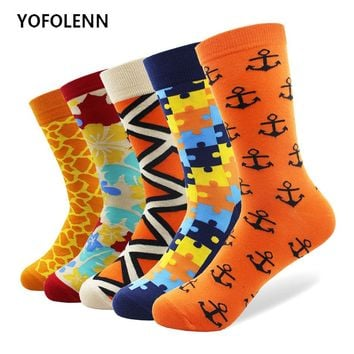 5 Pairs/Lot Colorful Men's Funny Socks Combed Cotton High Quality with Puzzle Anchor Leopard Pattern Long Cool Crew Happy Socks