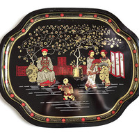 Vintage Tin Tray Decorative Metal Tray Made in England Asian Chinese Design Tin Chinioiserie Serving Tray Asian Decor Vanity Tray