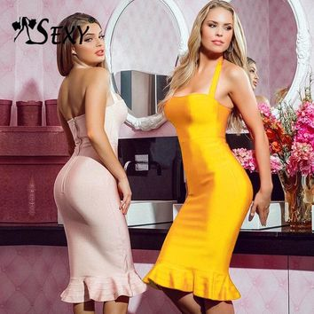 Gosexy 2018 New Women Bandage Dress Elegant Halter Backless Party Strapless Mermaid Lady Dress Sexy Summer Vestidos