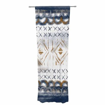 "Pellerina Design ""Indigo Tapestry"" Blue Gold Painting Decorative Sheer Curtain"
