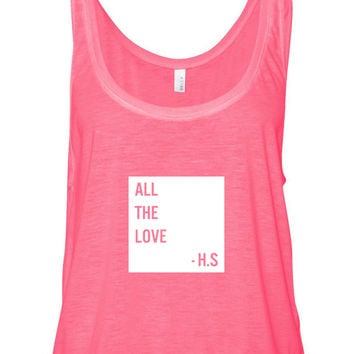 "Harry Styles ""All The Love - H.S."" Box Boxy, Cropped Tank Top"