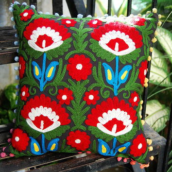 Suzani Pillow Cases Handmade Wool Embroidered Indian Pillows Christmas Gift Decorative Pillow Cases Cute gift Royal Handcrafted Ethnic Art