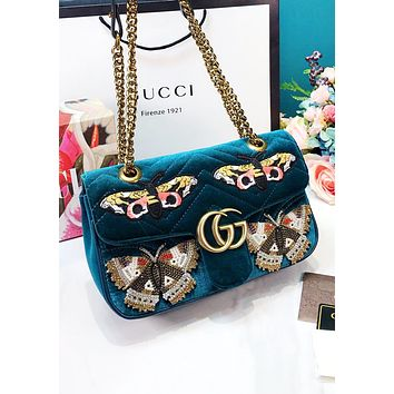 GUCCI New fashion embroidery butterfly velvet chain high quality shoulder bag women Blue