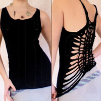 Black Altered Tank Top Fun Feminine backless by Exaltation