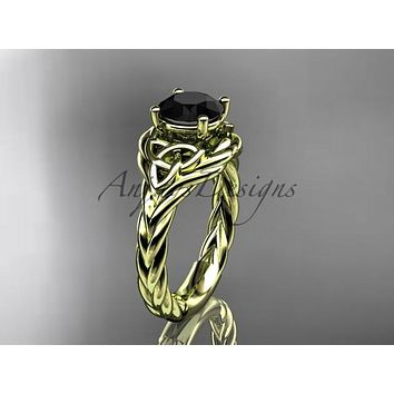 14kt yellow gold celtic trinity twisted rope wedding ring with a Black Diamond center stone RPCT9125