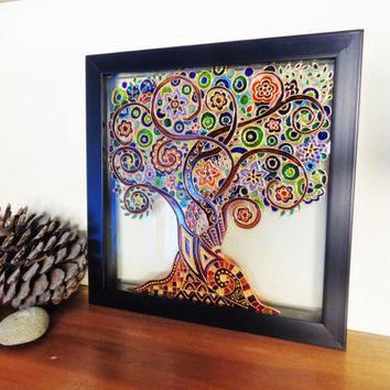 Tree of life Art Glass painting Painted glass Tree of life painting Glass wall decor