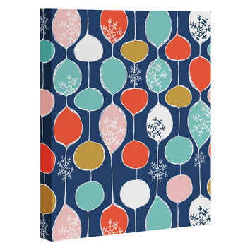 Heather Dutton Snowflake Holiday Bobble Chill Navy Art Canvas