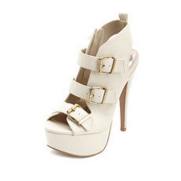 Triple Buckle Peep-Toe Pump: Charlotte Russe