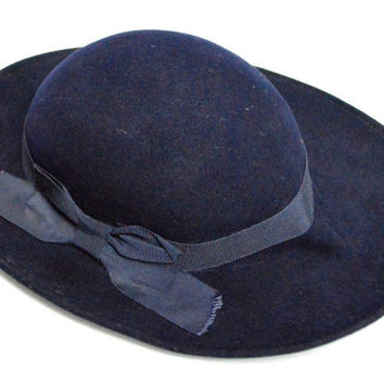 Vintage 80s Geo. W. Bollman & Co. Doeskin Felt Bowler Sunhat with Bow Hat