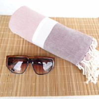 Linen Powder,Rose,White Striped Peshtemal-Turkish PESHTEMAL-Spa,Bath,Beach,,Yoga,Pool,Fitness Towel