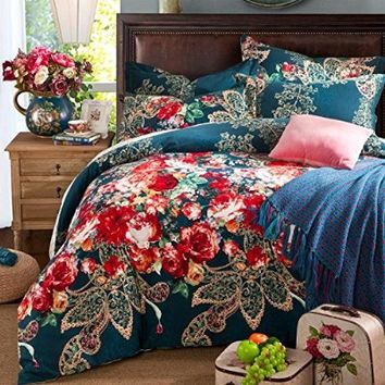Sisbay Bohemian Paisley Bedding,Boho Luxury Sanding Duvet Cover,Girls Fashion Wedding Bedding,Queen King size,4pcs
