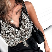 New Fashion Sexy Womens Summer Camis Tops And Blusa Sleeveless V Neck Lace Leopard Print Patchwork Female Snake skin Tank Tops