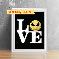 Real Shiny Gold Foil Nightmare Before Christmas Print Decor, Jack Skellington Art Print, Tim Burton Art, Nightmare Before Christmas Poster.