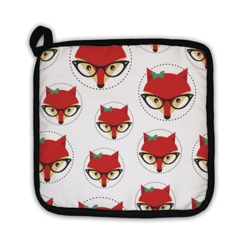 Potholder, Hipster Pattern With Red Lady Fox