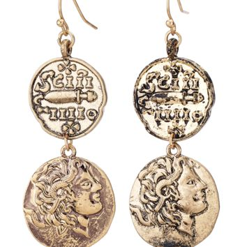 Gold Coins Drop Earrings