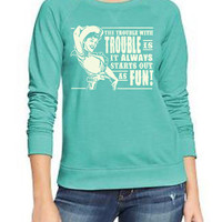 Retro Cowgirl Trouble with Trouble Slouchy Womens Sweatshirt
