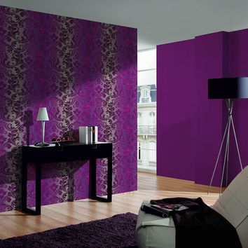 Damask Floral Trail Wallpaper in Purples design by BD Wall – BURKE DECOR