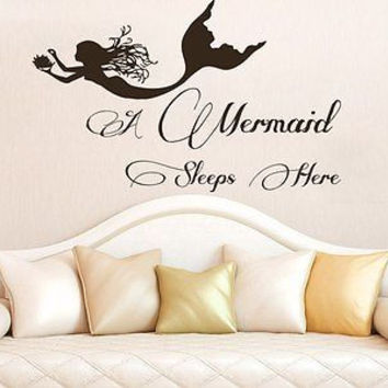 Wall Decals Quotes A Mermaid Sleeps Here Phrase Bedroom Kids Nursery Decor C284