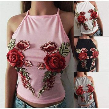 Women Tank Floral Top Bustier Bra Sleeveless Vest Crop Top Bralette Blouse Shirt