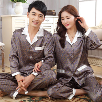 Plus Size Pajamas Women Silk Pajamas Sets Full Sleeve Sleepwear 2 Pieces Silk Homewear Men Turn-down Collar Couple Pajama Sets