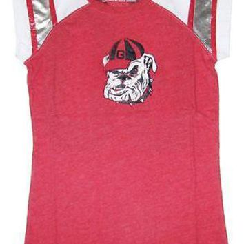 Georgia Bulldogs T-Shirt Women's Trace Foil Ladies UGA Shirt Red/White