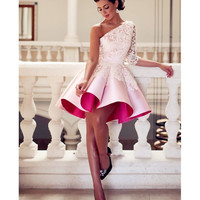 Newest One-Shoulder Appliques Cocktail Dresses Elegant Pink Stain Above Knee Length High Quality Party Gowns