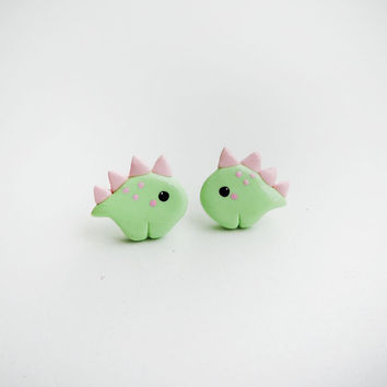 Cute Pastel Green and Pink Baby Dinosaur Stegosaurus Earrings