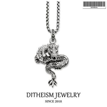 Link Chain Necklace Dragon Blackened, 2018 Fashion 925 Sterling Silver Jewelry China Ethnic Gift For Men Women Boy Girls