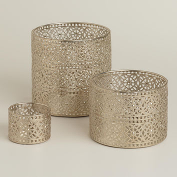 Silver Lace Metal Hurricane Candleholders - World Market