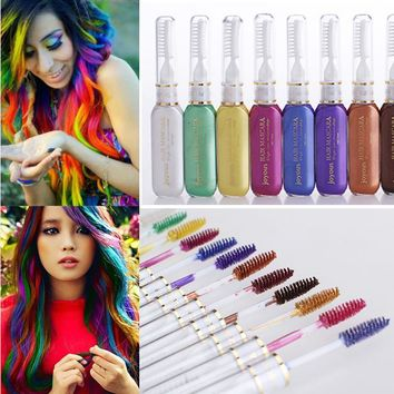 Mutlicolor Brand Hair Dye Color DIY Not Hurt Hair Easy To Clean Non-toxic One-time Temporary Mascara Hair Cream 14 Colors