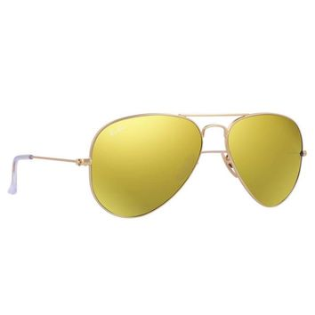 Ray Ban RB3025 112/93 Aviator Sunglasses Gold Frame Yellow Mirror Flash 58mm