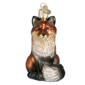 The Fox Blown Glass Christmas Ornament