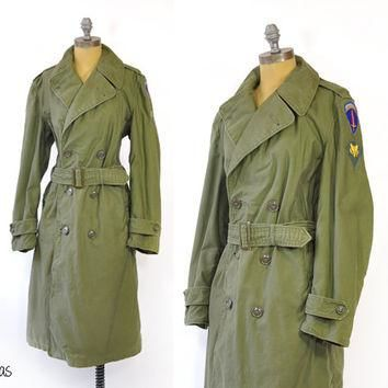 Vintage Military Trench Coat ? WWII Green Trench Coat ? Army Green ? 1940s Coat ? Supr