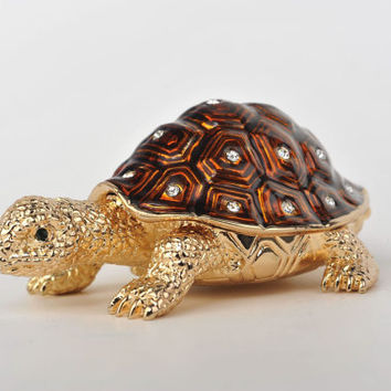 Golden Brown Turtle Faberge Styled Trinket Box Handmade by Keren Kopal Enamel Painted Decorated with Swarovski Crystals