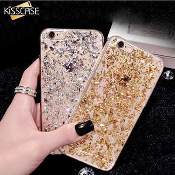 KISSCASE Fashion Luxury Glitter+TPU Cute Case For iPhone 6 6s 7 Plus Back Cover For iPhone 6 Samsung Galaxy S5 S6 S7 Case Capa