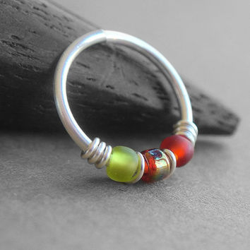 Strawberry, 20g Nose Ring, One Hoop, Cartilage Hoop Earring, Sterling Silver, Titanium or Niobium Hoop, Red and Green