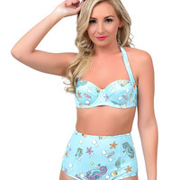 Hell Bunny 1950s Style Aqua Bubble & Sweet High Waist Swim Bottom